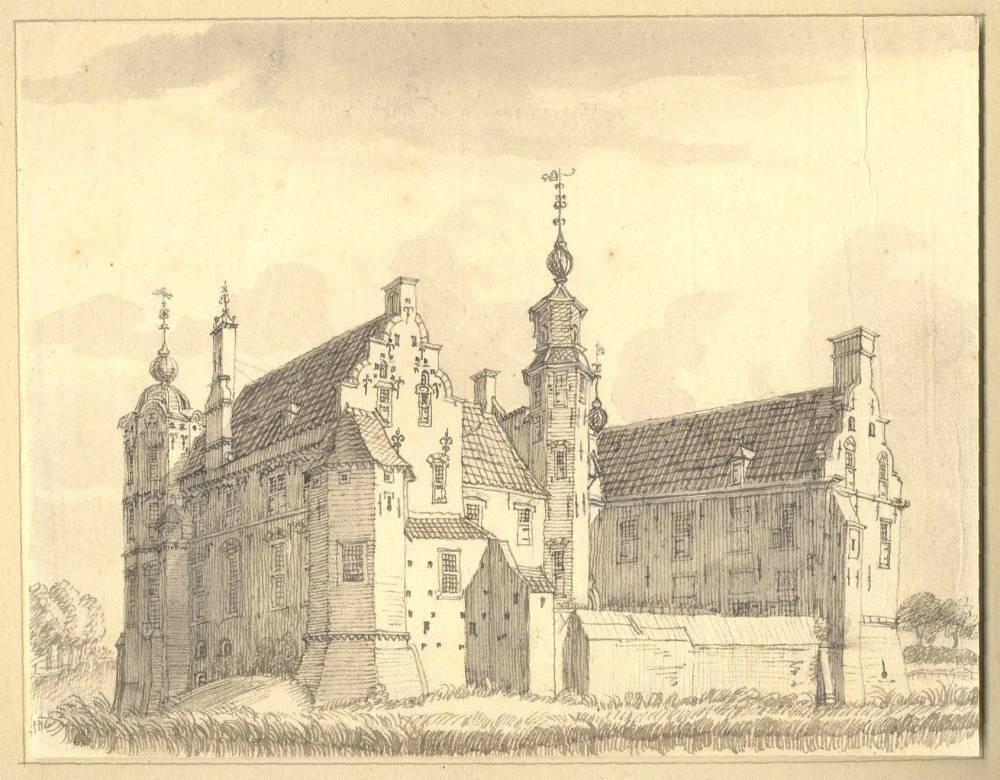 De Marsch in Zutphen. Tekening Jan de Beijer, 1744